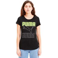 Puma Womens Rebel Graphic Tee, Black, rebel_hi-res