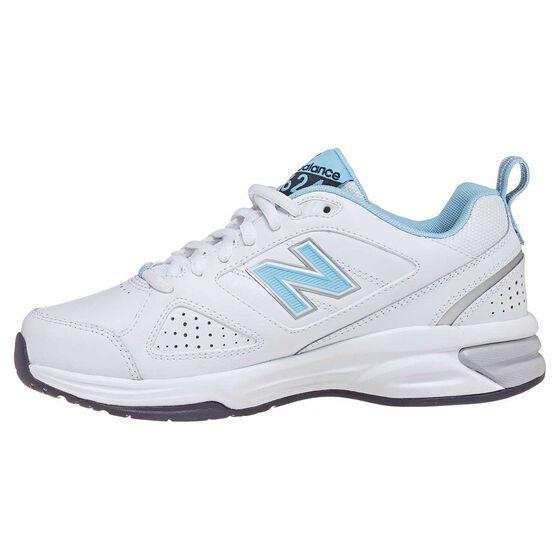New Balance 624 D Womens Cross Training Shoes, White  / Blue, rebel_hi-res