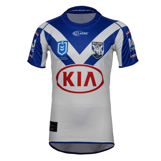 Canterbury-Bankstown Bulldogs 2019 Mens Home Jersey, White / Blue, rebel_hi-res