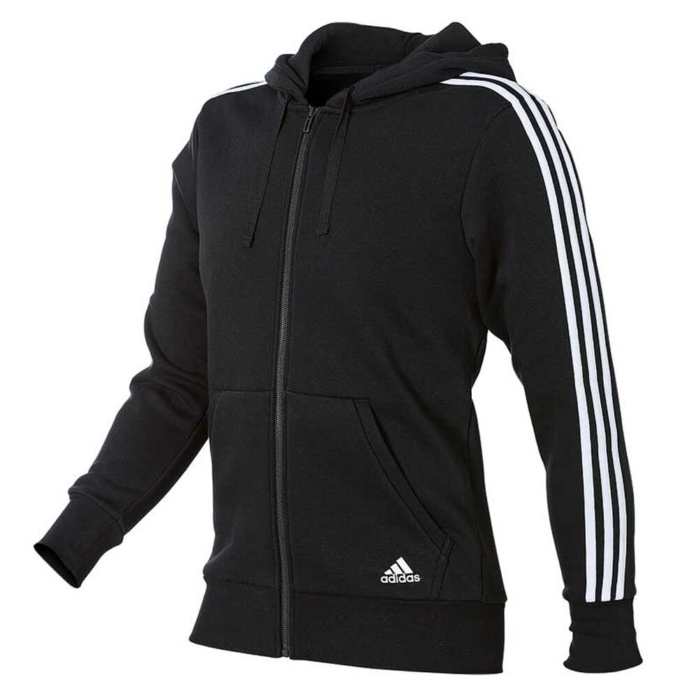 18f261cc2 adidas Mens Essentials 3 Stripes Full Zip Hoodie Black / White S adult,  Black /