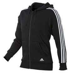 adidas Mens Essentials 3 Stripes Full Zip Hoodie Black / White S adult, Black / White, rebel_hi-res