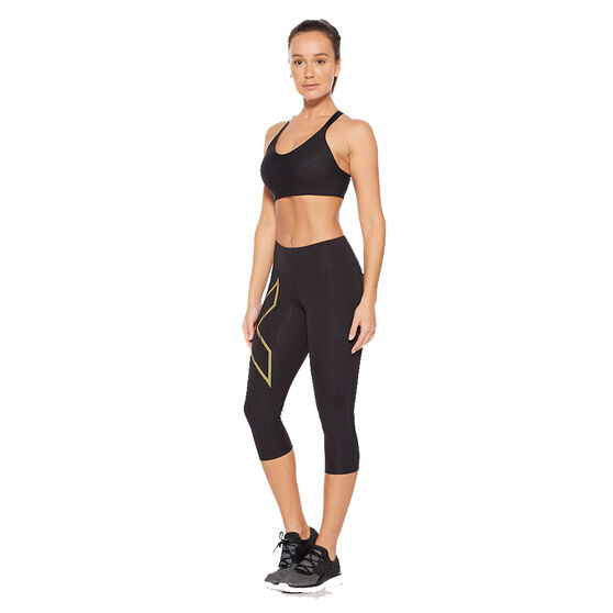 2XU Womens Light Speed Mid Rise 3/4 Compression Tights, Black, rebel_hi-res