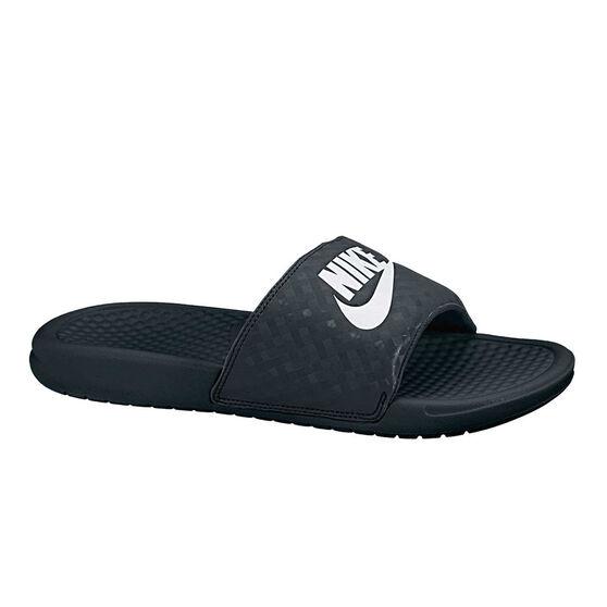 Nike Benassi Just Do It Womens Slides, Black / White, rebel_hi-res