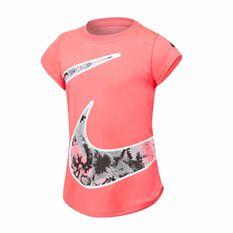 Nike Girls Tie Dye Split Swoosh Tee Pink 4, Pink, rebel_hi-res