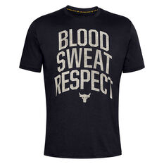 Under Armour Mens Project Rock Blood Sweat Respect Tee Black XS, Black, rebel_hi-res