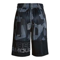 Under Armour Boys Stunt Printed Shorts Grey / Black XS, Grey / Black, rebel_hi-res