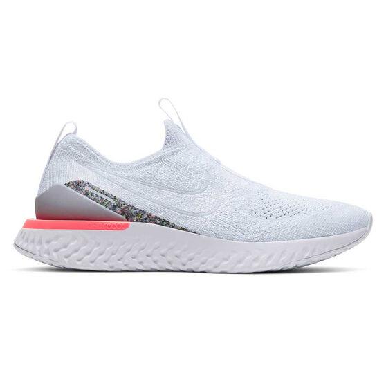 Nike Epic React Phantom Flyknit Womens Running Shoes, White / Grey, rebel_hi-res