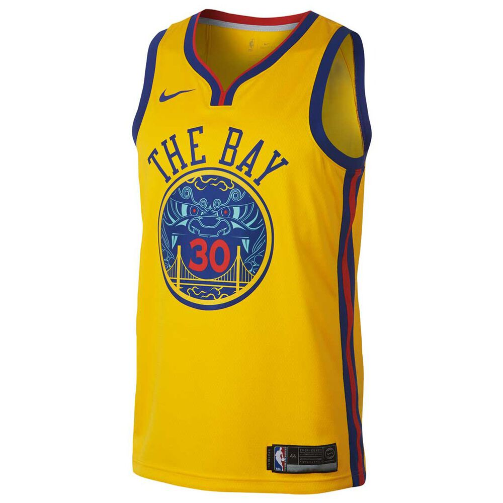 Nike Golden State Warriors Stephen Curry City 2018 Mens Swingman Jersey  Yellow L fdac1bc31