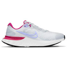 Nike Renew Run 2 Kids Running Shoes Grey/Purple US 4, Grey/Purple, rebel_hi-res