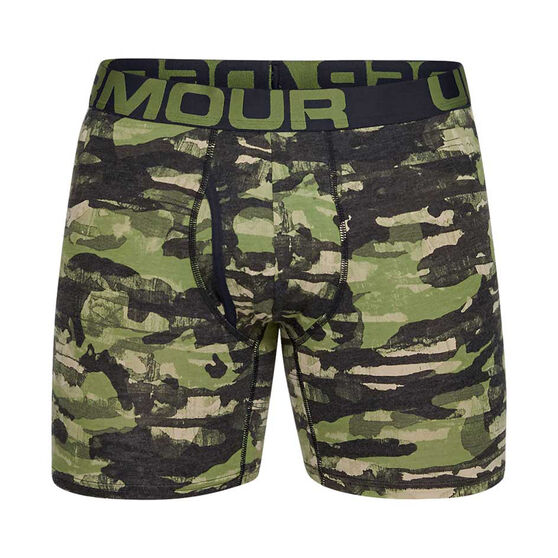 Under Armour Mens Charged Cotton 6in 3 Pack Underwear Green S, Green, rebel_hi-res