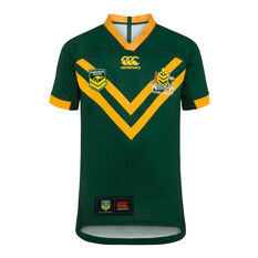 Kangaroos 2019 Kids Pro Home Jersey Green / Yellow 8, Green / Yellow, rebel_hi-res