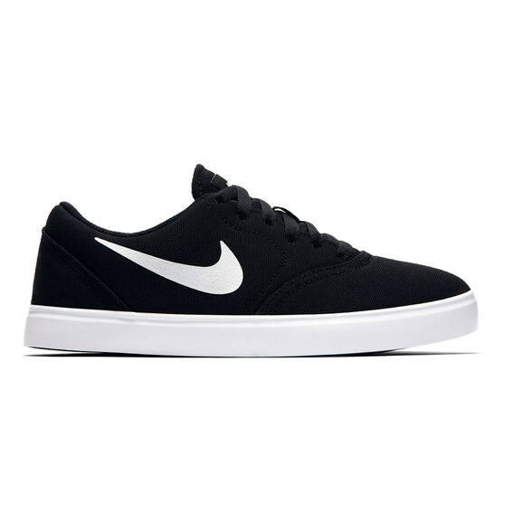 Nike SB Check Canvas Kids Skateboarding Shoes, Black / White, rebel_hi-res