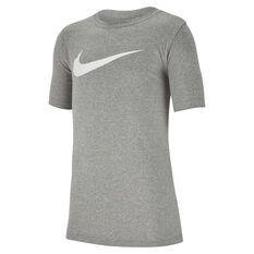 Nike Dri-FIT Boys Swoosh Training Tee Grey / White XS, Grey / White, rebel_hi-res