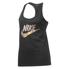 Nike Womens Sportswear Metallic Racer Tank, Black, rebel_hi-res