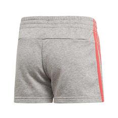 adidas Girls Essentials 3 Stripes Shorts, Grey / Pink, rebel_hi-res