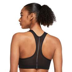 Nike Air Womens Dri-FIT Swoosh Reflective Design Sports Bra Black XS, Black, rebel_hi-res