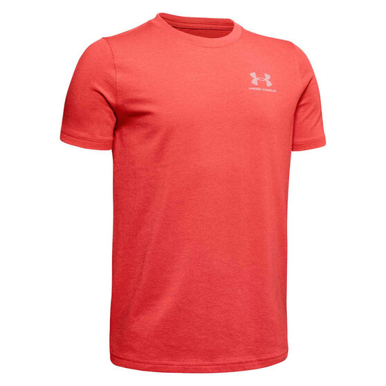 Under Armour Boys Charged Cotton Tee, Red / White, rebel_hi-res