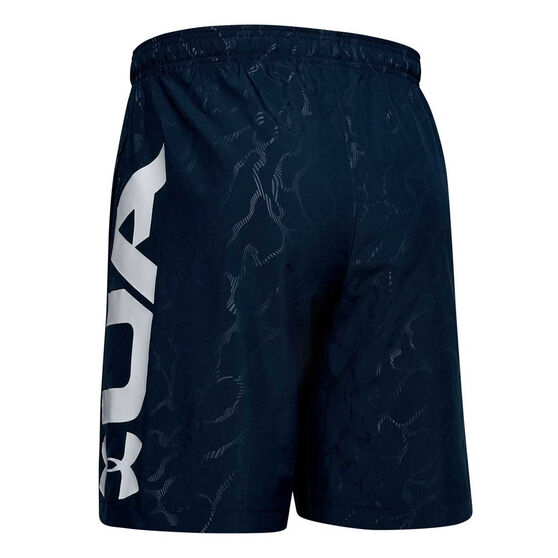 Under Armour Mens Woven Graphic Emboss Shorts, Navy, rebel_hi-res