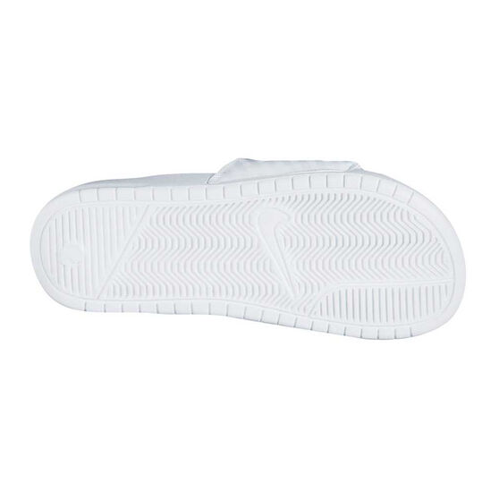 Nike Benassi JDI Swoosh Womens Slides White / Silver US 11, White / Silver, rebel_hi-res