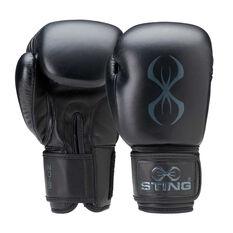 Sting Titan Leather Boxing Gloves Black 12oz, Black, rebel_hi-res
