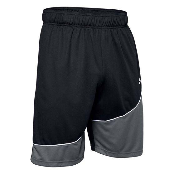 Under Armour Mens Baseline Basketball Shorts, Black, rebel_hi-res