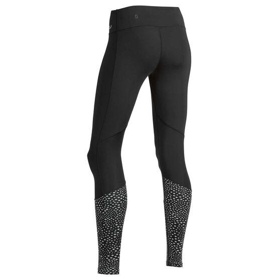 2XU Womens Reflect Run Mid Rise Compression Tights, Black, rebel_hi-res