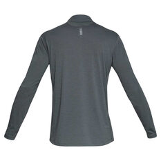 Under Armour Mens Streaker Half Zip Long Sleeve Top Grey S, Grey, rebel_hi-res