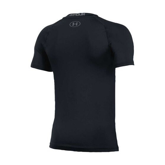 Under Armour Boys HeatGear Armour Fitted Tee, Black / Grey, rebel_hi-res
