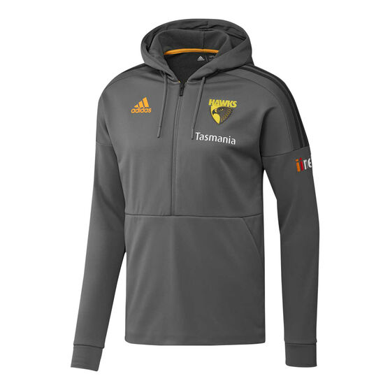 Hawthorn Hawks 2019/20 Mens Half Zip Hoodie, Grey, rebel_hi-res