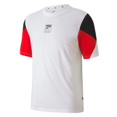 PUMA Mens Rebel Advanced Tee, White, rebel_hi-res
