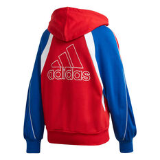 adidas Womens Colourblock Full Zip Hoodie Red XS, Red, rebel_hi-res