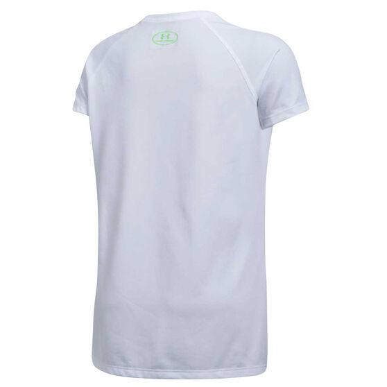 Under Armour Girls Solid Big Logo TShirt, White, rebel_hi-res