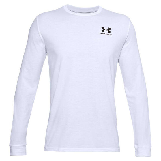 Under Armour Mens Sportstyle Left Chest Tee, White, rebel_hi-res