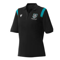 Port Adelaide Womens 2021 Travel Polo Black XS, Black, rebel_hi-res