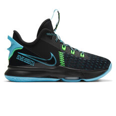 Nike LeBron Witness V Kids Basketball Shoes Black US 4, Black, rebel_hi-res