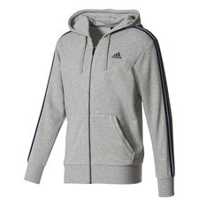 adidas Mens Essentials 3 Stripes Hoodie Grey / Navy S adult, Grey / Navy, rebel_hi-res