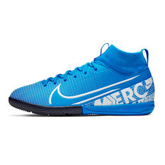 Nike Mercurial Superfly VII Academy Kids Indoor Soccer Shoes Blue / White US 1, Blue / White, rebel_hi-res