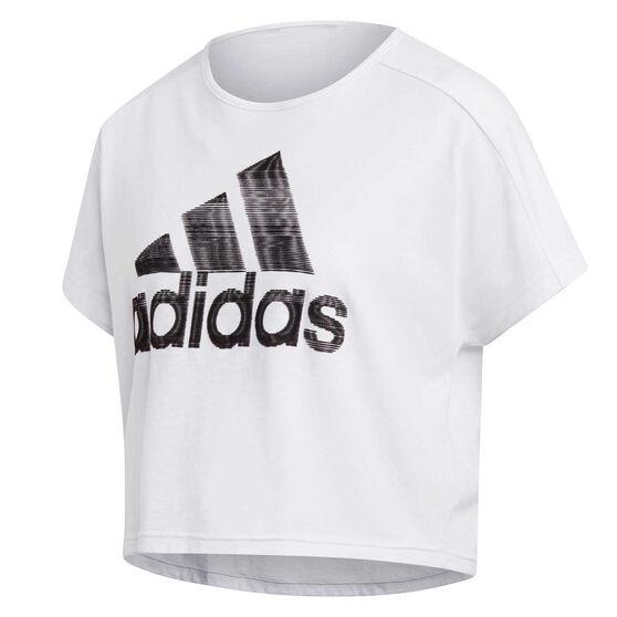 adidas Womens Sport ID Graphic Tee, White, rebel_hi-res