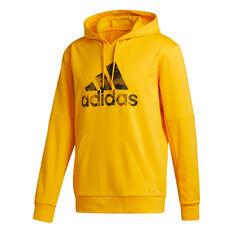 adidas Mens Go Big Badge of Sport Hoodie Gold S, Gold, rebel_hi-res