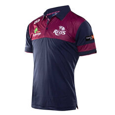 Queensland Reds 2019 Mens Media Polo Navy / Red S, Navy / Red, rebel_hi-res