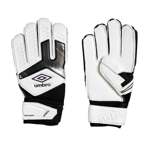Umbro Neo Precision Kids Goalkeeping Gloves, White / Purple, rebel_hi-res