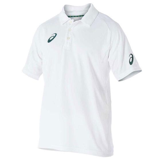 Asics Mens Cricket Playing Polo Top, White, rebel_hi-res