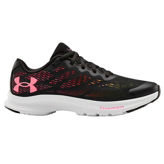 Under Armour Charged Bandit 6 Kids Running Shoes, Black/Pink, rebel_hi-res