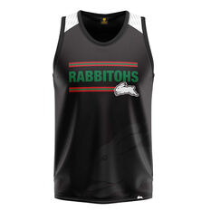 South Sydney Rabbitohs Mens Watermark Performance Singlet Black S, Black, rebel_hi-res