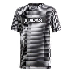 adidas Boys Training Branded Tee White / Black 10, White / Black, rebel_hi-res