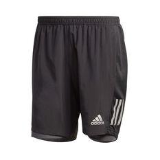 adidas Mens Own The Run 2-in-1 Shorts Black XS, Black, rebel_hi-res