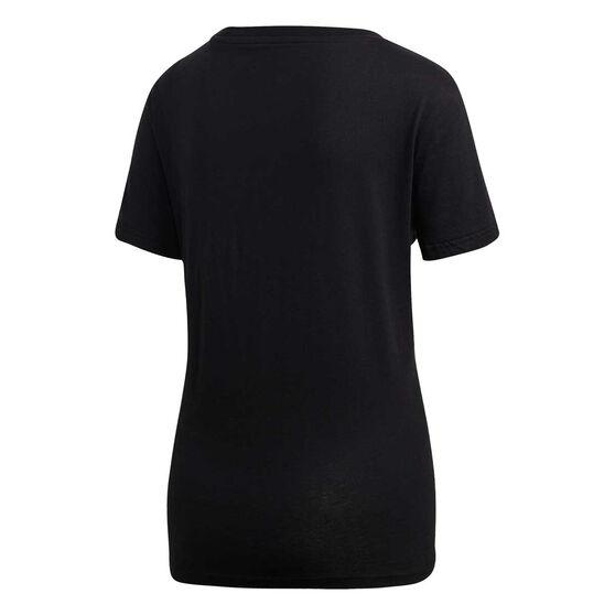 adidas Womens Essentials Linear Slim Tee, Black / White, rebel_hi-res