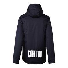 Carlton Blues 2021 Mens Retro Stadium Jacket Navy S, Navy, rebel_hi-res