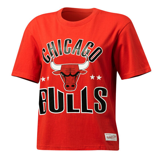 Mitchell & Ness Womens Stars Logo Chicago Bulls Tee, Red, rebel_hi-res
