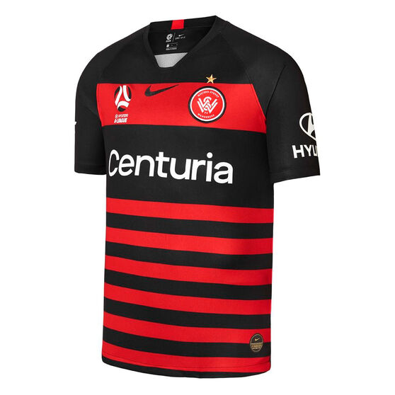 Western Sydney Wanderers FC 2019/20 Kids Home Jersey, Black / Red, rebel_hi-res